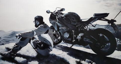 Joven con moto. Óleo sobre tabla (175X100)